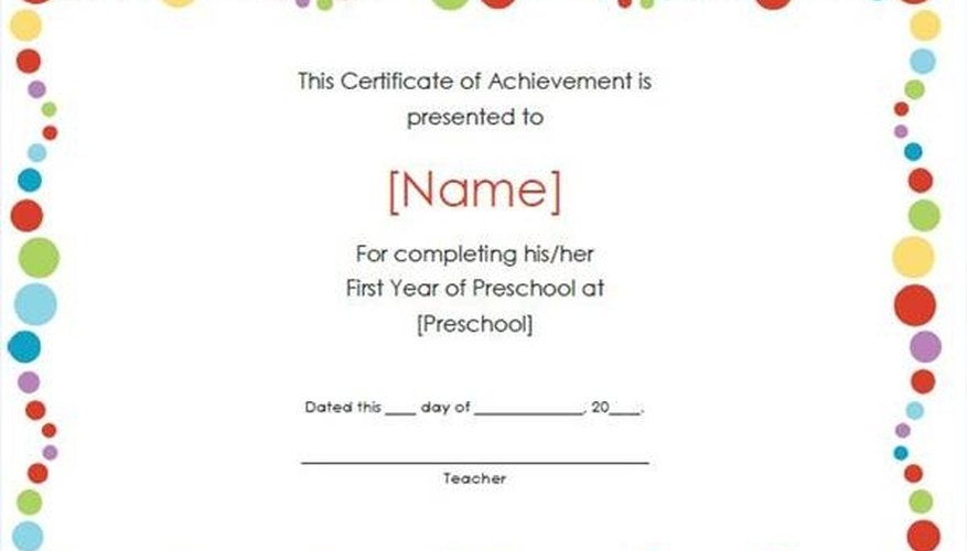 How to Create a Certificate of Achievement | Bizfluent
