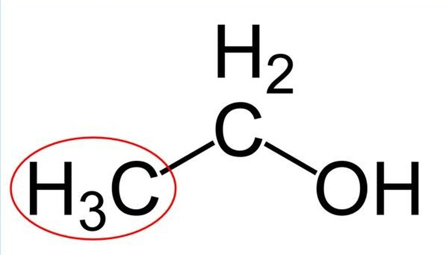 Structure of an ethanol molecule, with the methyl group circled in red