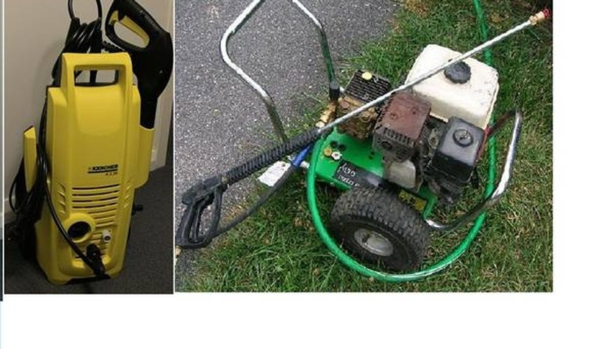 An electric pressure washer and a gas-powered model