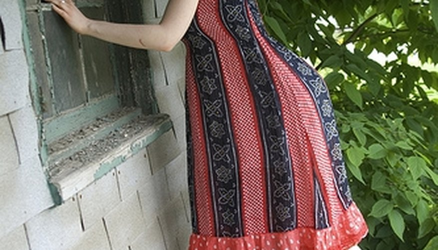 A photo demonstrating the line of a classic, simple sundress