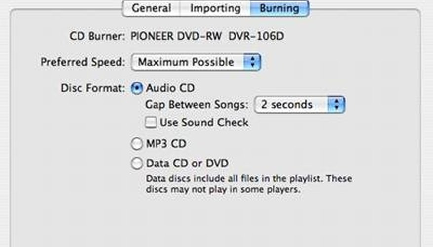 ITunes Burn Options