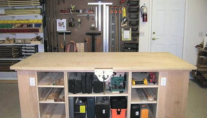 A big, sturdy shop workbench.