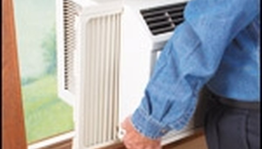 open the window and place the air conditioner in the window, then lower the window onto the air conditioner to secure