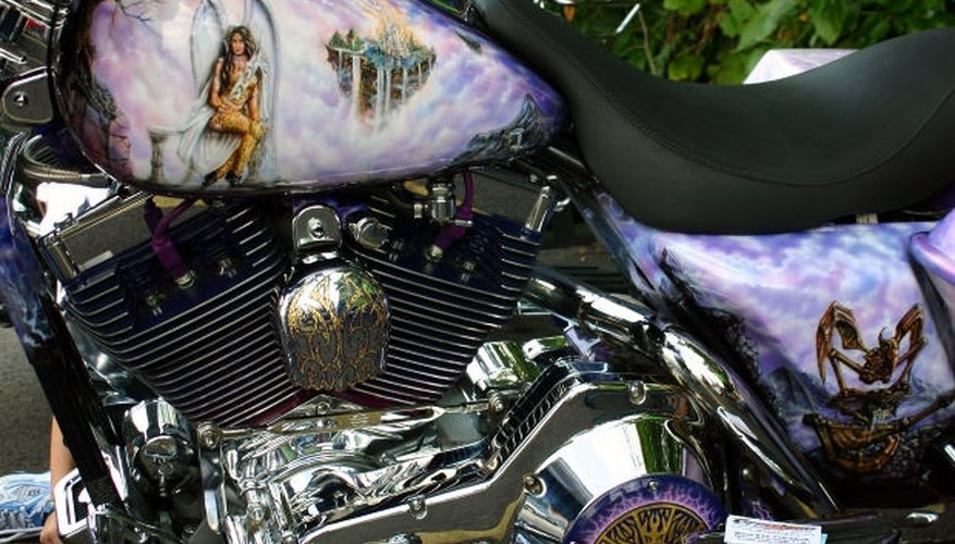Custom airbrush paint job on a motorcycle