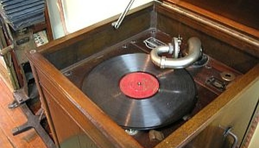Old phonograph with vinyl record