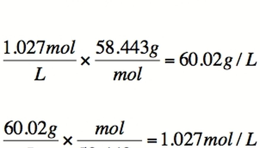Conversion between molarity and density.