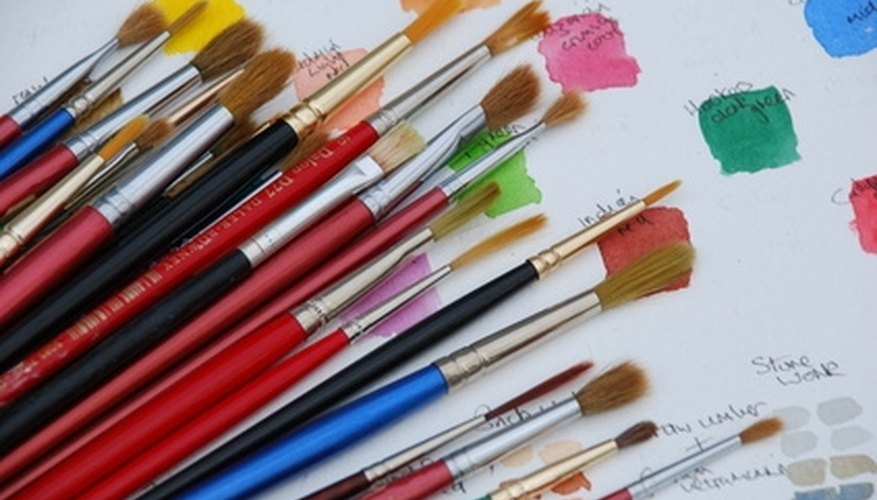 An assortment of paintbrushes.