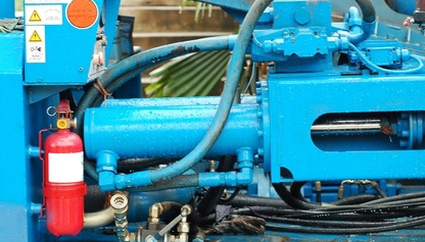 This hydraulic ram produces huge forces with relatively small pumps.