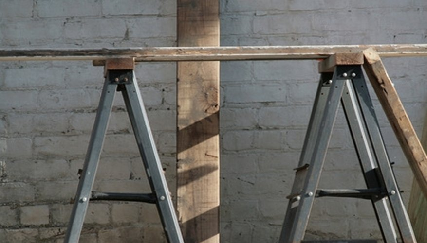 Place sawhorses evenly for a good workspace.