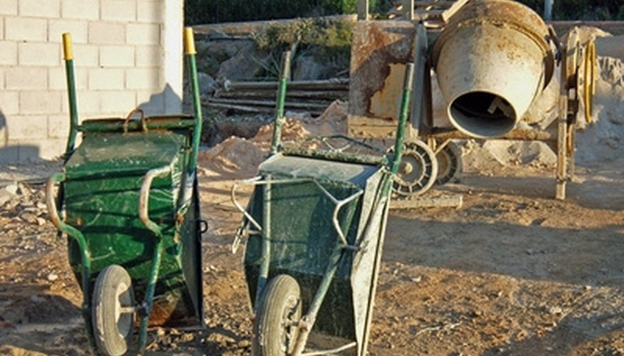 Mortar can be mixed in a wheelbarrow with a mixing hoe, or in a mortar-mixing machine.