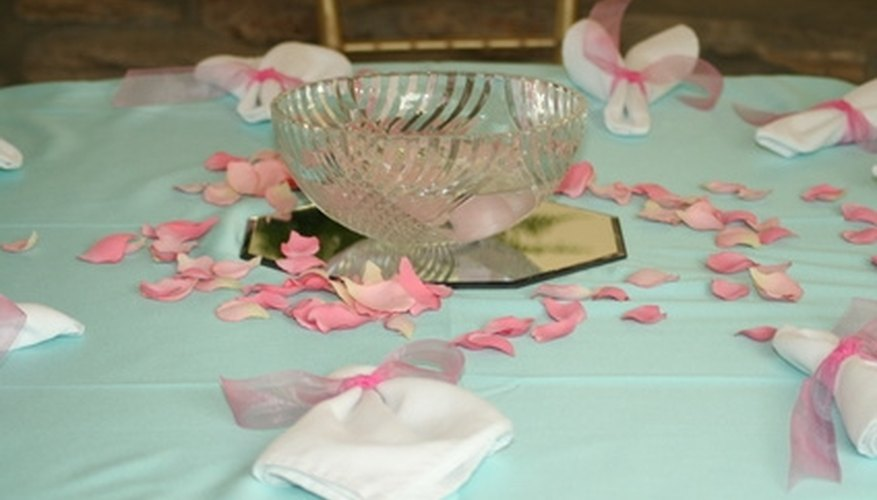 A modern table setting incorporating a mirror.