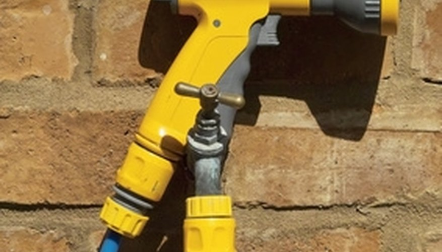 A pressure nozzle makes cleaning concrete or brick go faster.
