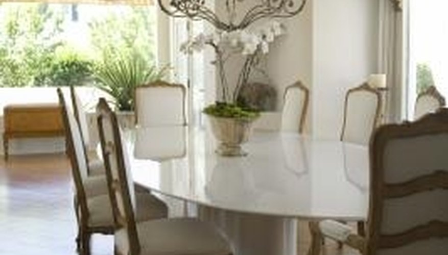 This dining room design illustrates standard chandelier size and placement.
