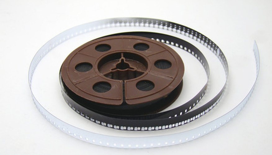 A reel of 8mm film can be played on a projector.