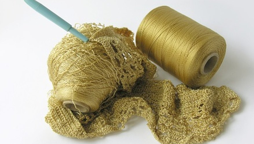 Metallic yarn creates a shimmery scarf for dressy occasions.