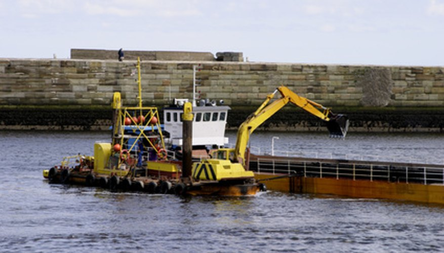 Marine construction companies operate barge-mounted work equipment.