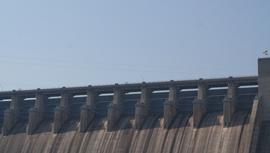 Hydroelectric dams produce electricity from the energy of falling water.