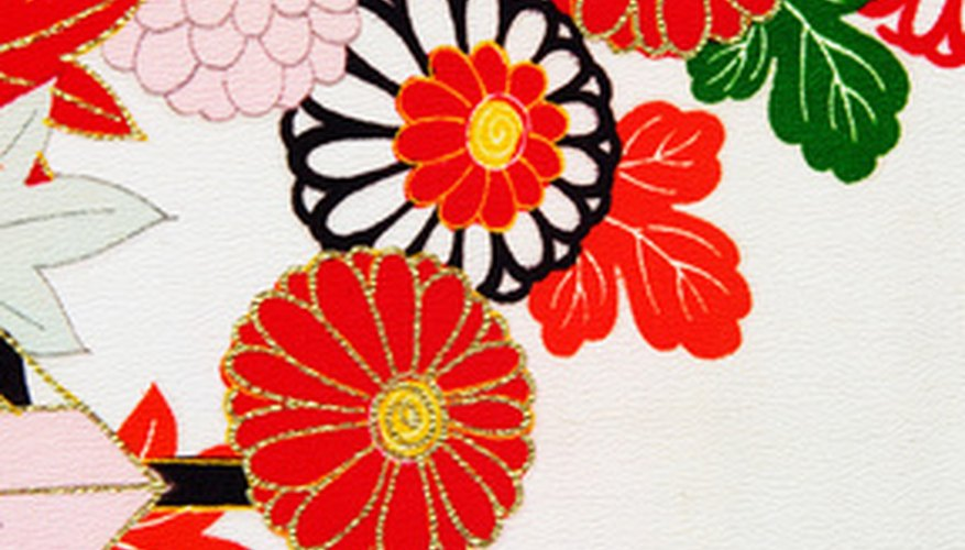 Kimono are often made from brightly colored fabric.