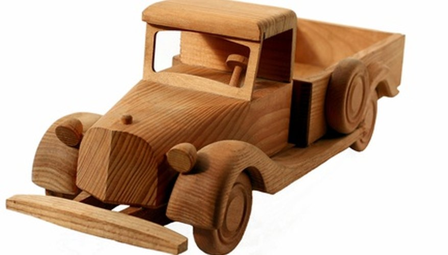Build a wooden toy truck to use as a model or a toy.