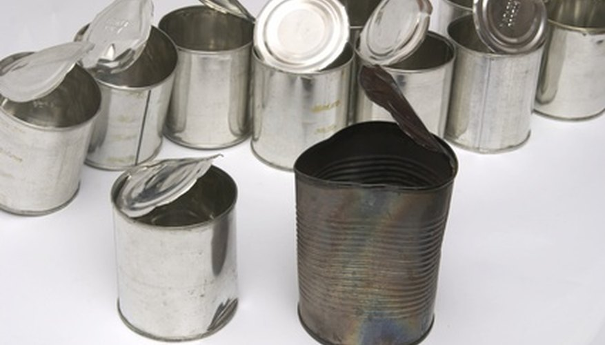 Old cans can be bent and cut into a variety of shapes for an art sculpture.