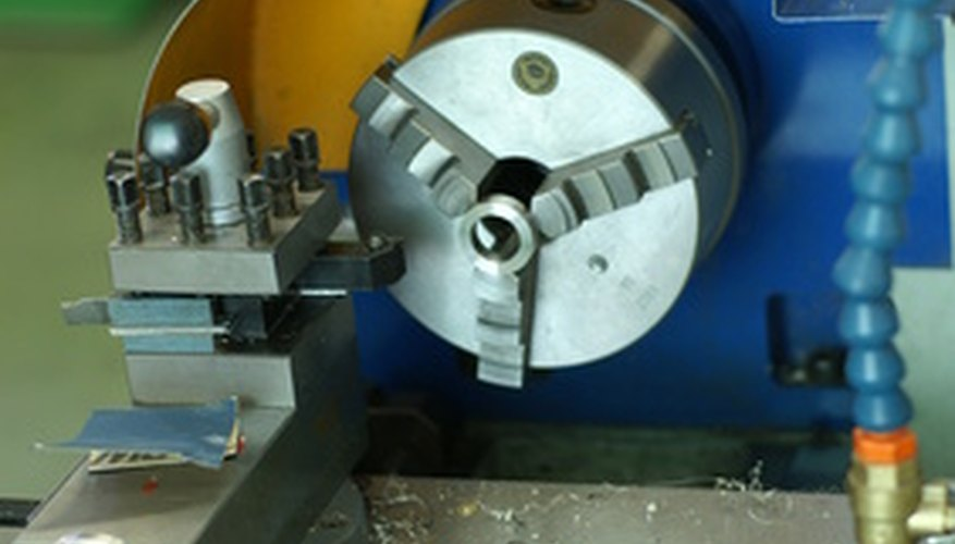 Lathes turn metal for cutting.