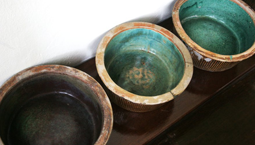 Clear glass melted thickly on ceramic often has a blue-green hue