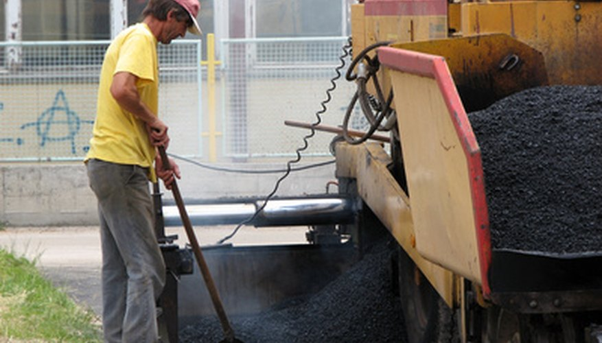 Surface area, thickness and the density of asphalt paving material are used to compute the required quantity of asphalt.