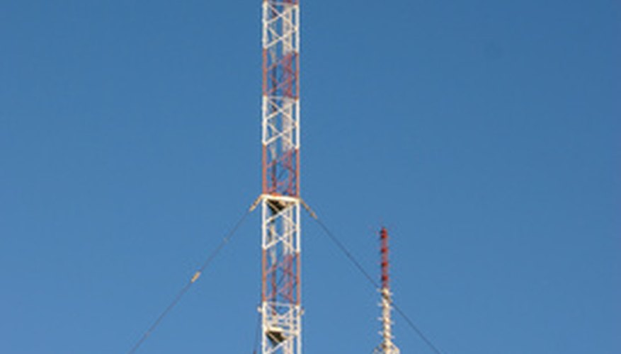 A pair of antennas for broadcasting radio signals.