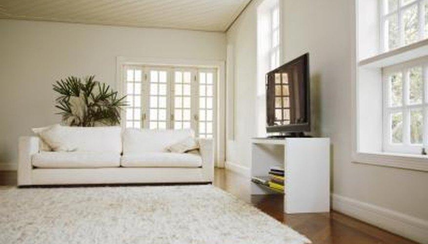 An interior of a modern living room before carpet instillation