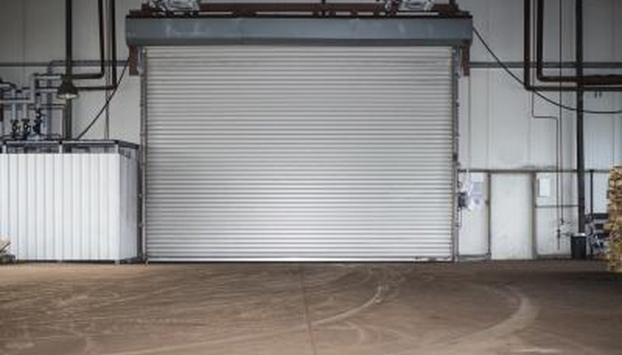 Garage with roller door.