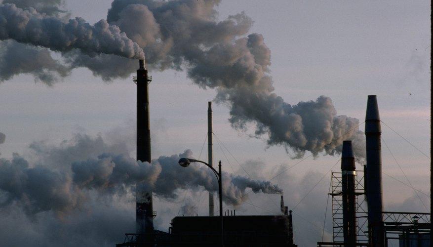 Smokestacks coming from factory