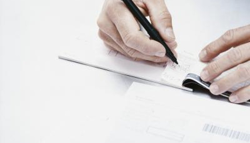 Man writing check and horizontal