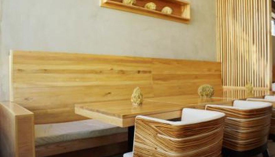 Wooden furniture in a restaurant.