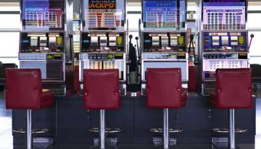 Slot machines inside airport terminal