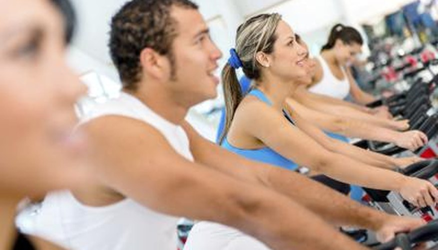 People in spinning class.