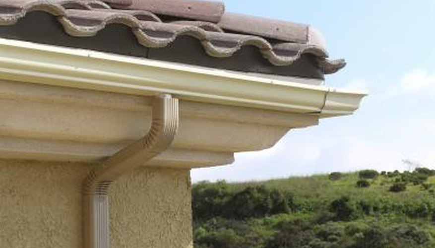 Rain gutters and terracota roof