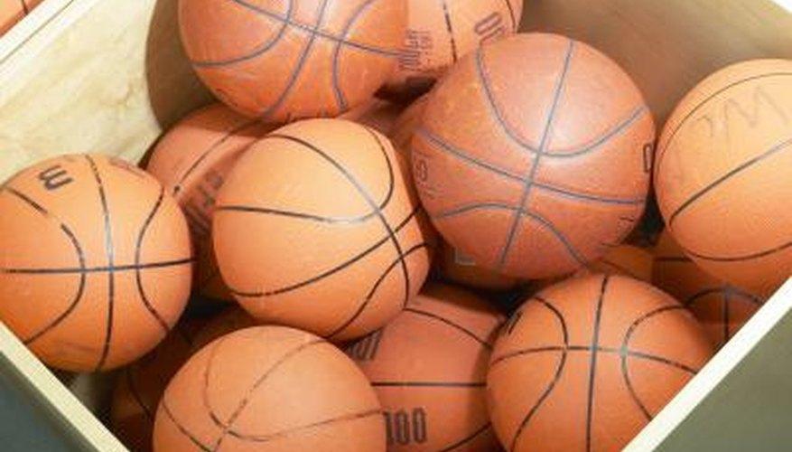 Basketballs in bin