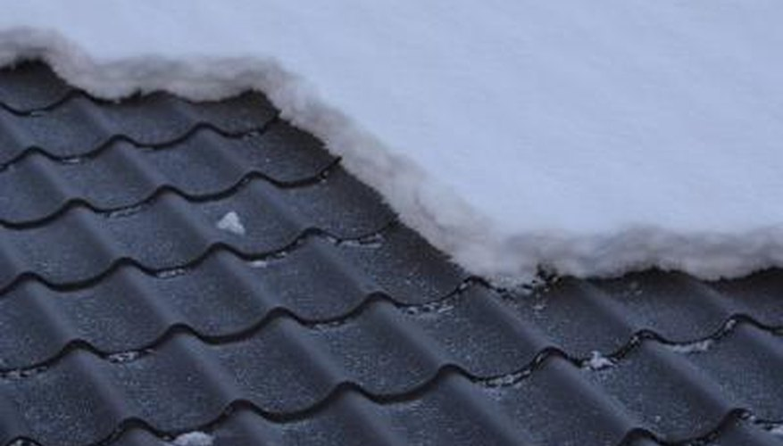 Snow slides off of metal roofs.