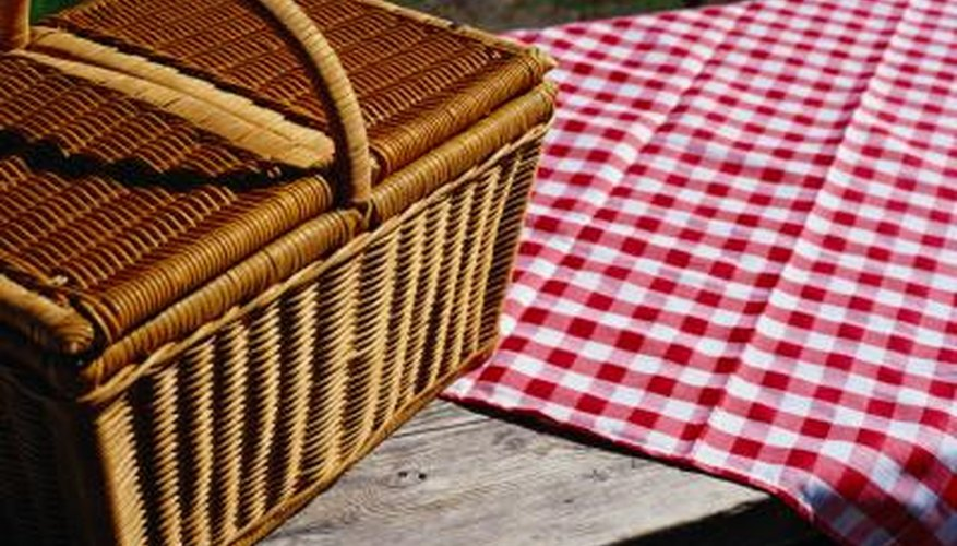 Picnic basket on a table.