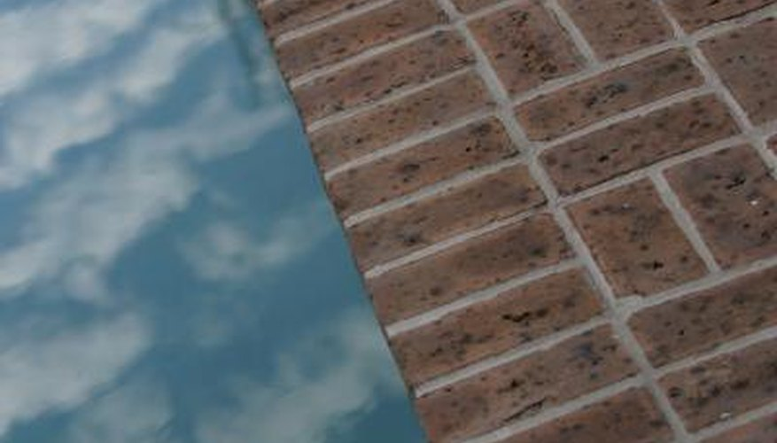 Brick edging around a pool
