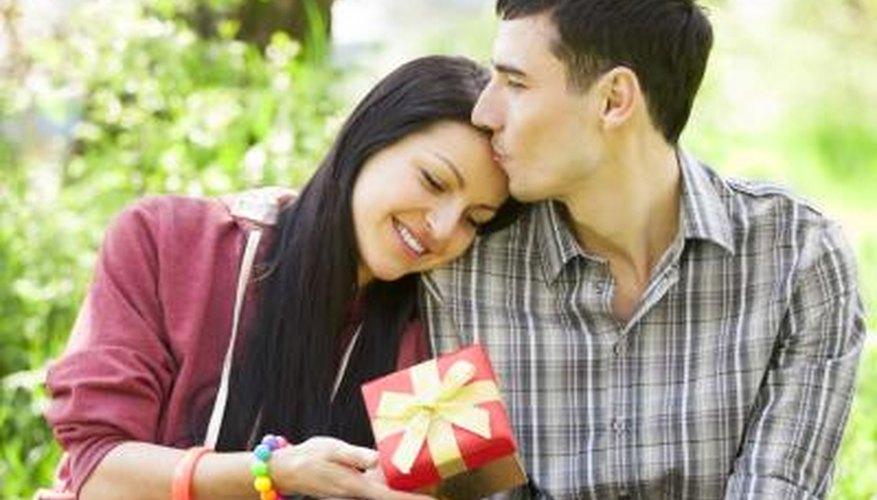 boy giving girl a gift