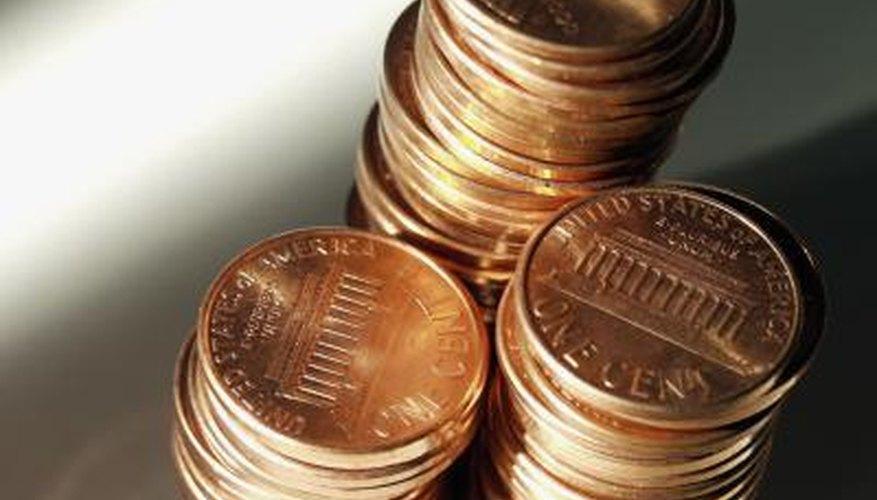 Piles of pennies.