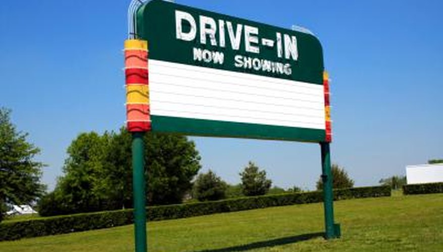 Drive-in movie theater sign.