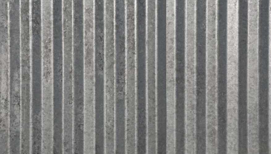 Close-up of corrugated aluminum sheeting.