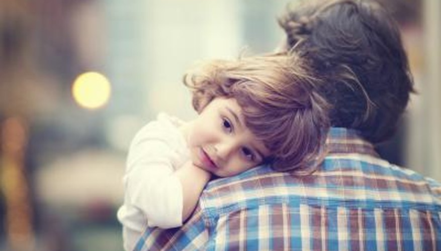 Father hugging child and horizontal