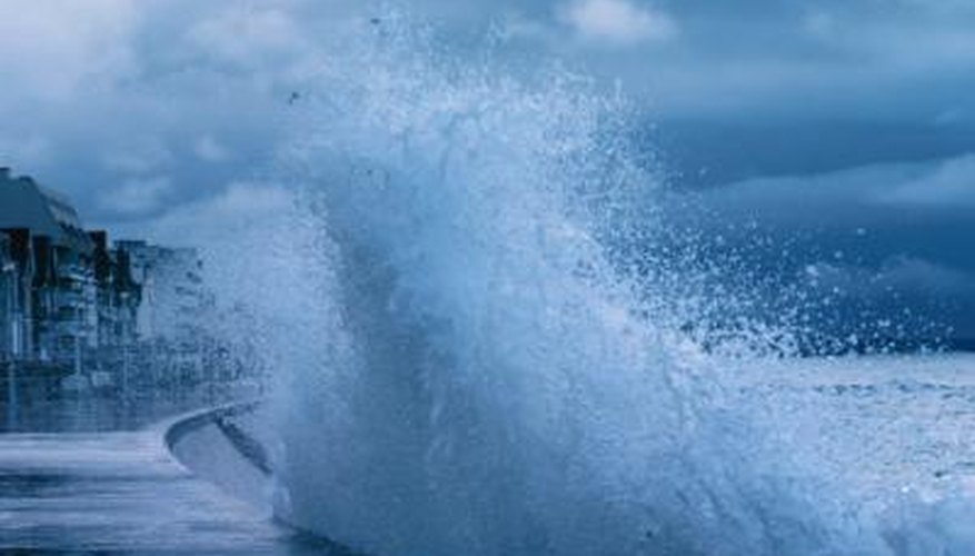Overtopping occurs when waves are higher than a bulkhead or seawall.