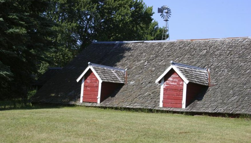 The exterior of a root cellar on a farm.