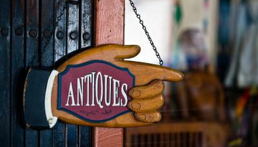 Antiques store sign.