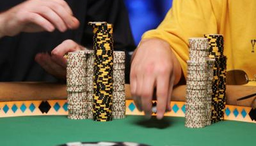 Stacks of chips on Texas Hold'em poker table