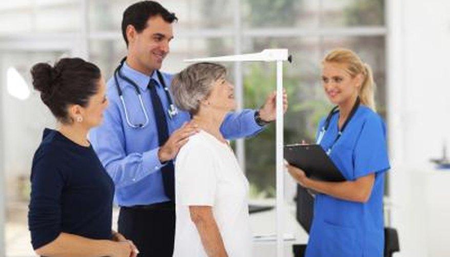 Senior woman gets height measured